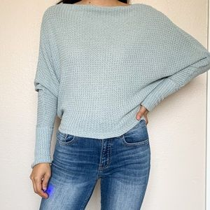 Free People Blue Thermal Long Sleeve Top T shirt